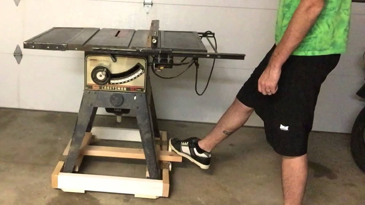 Retractable caster base for a table saw youtube for Table retractable