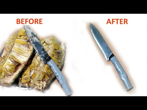 How to clean knife after cutting jackfruit