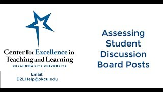 Assessing From Discussion Boards