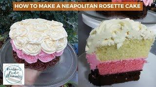 How To Make A Neapolitan Rosette Cake | Tutorial | Kurlina