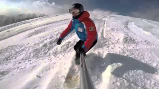 栂池スキー場ゴンドラ山頂駅からスノーボードで気持ち良く滑る動画 thumbnail
