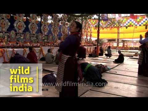 Monks chanting mantras during Kalachakra - Bodhgaya
