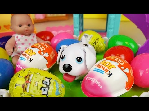 Thumbnail: Puppy and baby doll Surprise eggs and Kinder joy toys play park