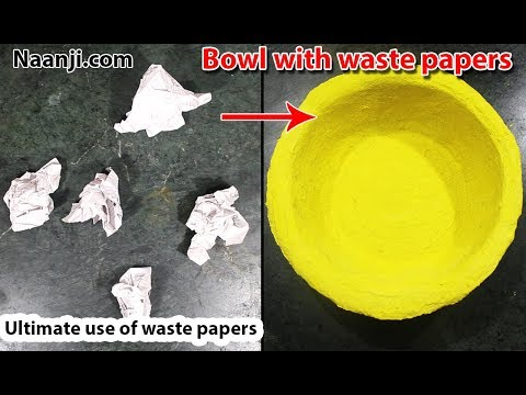 Making a bowl using waste papers / newspapers   Best out of waste   DIY paper craft ideas