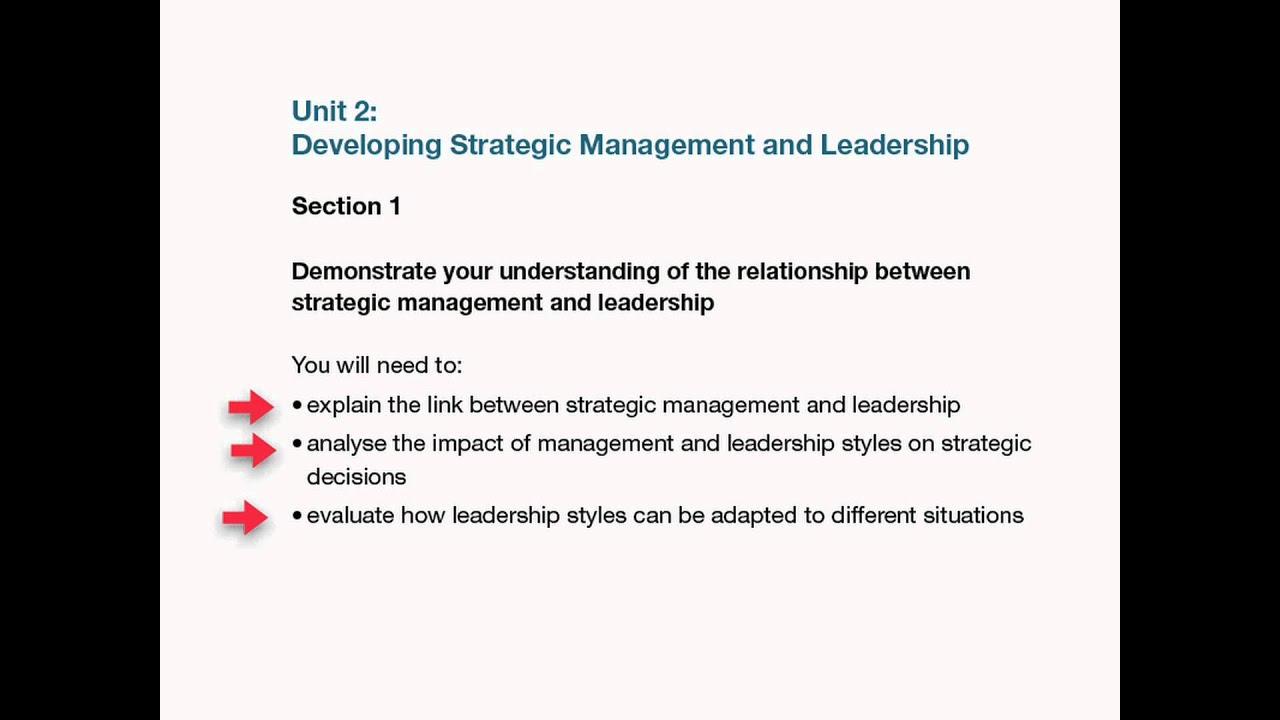 link between strategic management and leadership