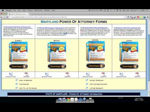 Power of Attorney Form Maryland