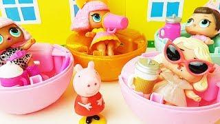 Swinka Peppa bajka po polsku - Świnka Peppa sprawdza czy lalki lol surprise sikają i płaczą