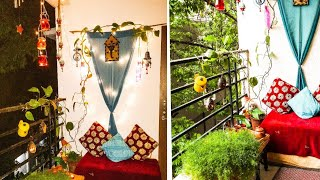 Balcony cozy seating area/ Indian seating arrangement for Balcony/Low budget Balcony seating area