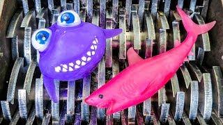 Colorful Squishy Sharks Shredded! Shredding Orbeez Animal Toys!