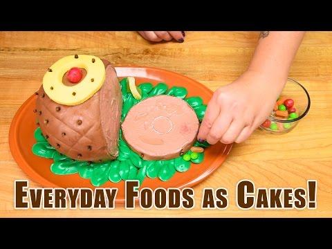 Everyday Foods as Cakes! Coke Bottle, Pizza, Ham, Turkey, Pumpkin, Donut, Giant PB & Jelly Sandwich