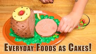 Everyday Foods as Cakes! Satisfying Cake Decorating: Coke Bottle, Pizza, Ham, Turkey, Pumpkin, Donut
