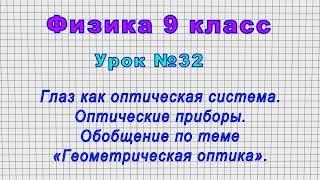 Физика 9 класс (Урок№32 - Глаз как оптическая система. Обобщение по теме «Геометрическая оптика»)