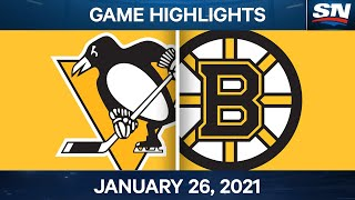 NHL Game Highlights | Penguins vs. Bruins - Jan. 26, 2021