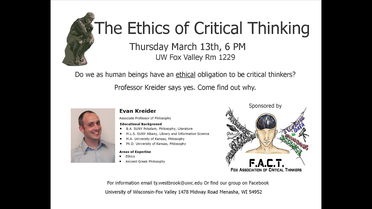 ethics and critical thinking 9 The ethical practice of critical thinking 00 fowler final 6/13/08 9:33 am page iii uncovering the ethics in critical thinking 133.