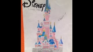 Disneyland Paris Castle Drawing using Prismacolor