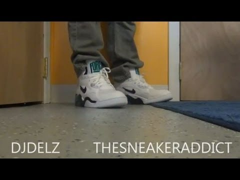 new styles 3c1bc 1f5f2 Nike Air Force 180 David Robinson Emerald Mid Sneaker Review With  DjDelz  Plus On Feet - YouTube