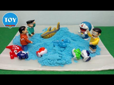 Trò chơi Nobita bắt cá trong cát động lực - hoạt hình doremon chế đồ chơi trẻ em tập 32