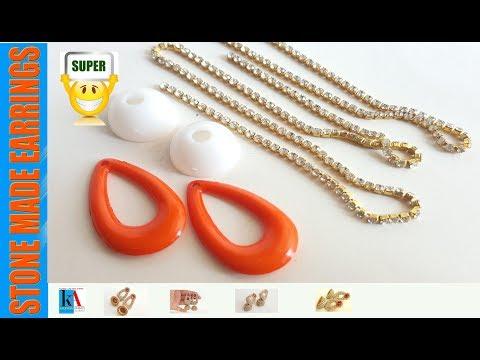 DIY || Designer Stone Chandbali Jhumkas Tutorial || Simple and Beautiful Silk Thread Earrings