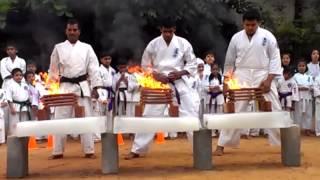 Shitoku Kai Karate Organization Bangalore - Fire Tiles and Ice block breaking