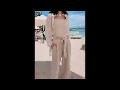 [데이로그 피팅컷] 여성 비키니 오렌지 매듭 투피스 수영복 / 라운드넥 펀칭 크롭 비치 티셔츠