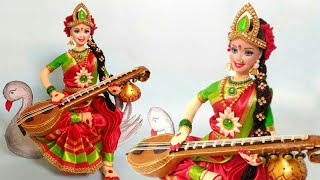 Saraswati Ma Making From Newspaper | DIY | Doll Craft | Creative Craft By Punekar Sneha