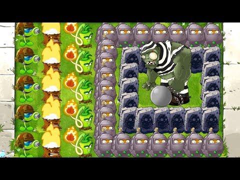 MAX LEVEL POWER-UP! vs GARGANTUAR in Prison Plants vs Zombies 2