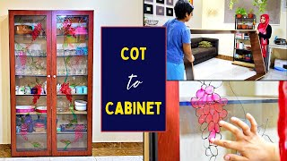 Transforming Old Cot to a Cabinet || Glass painting and Organising