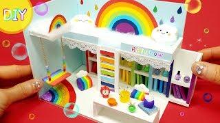 [DIY Miniature Rainbow room !    rainbow bed , bookshelf , swing~]