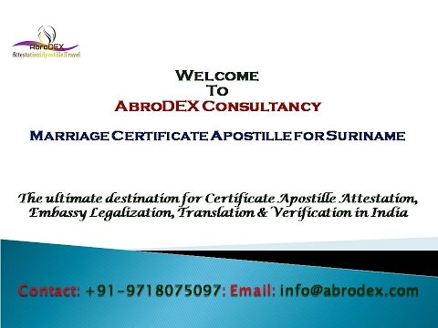 Marriage Certificate Apostille for Suriname