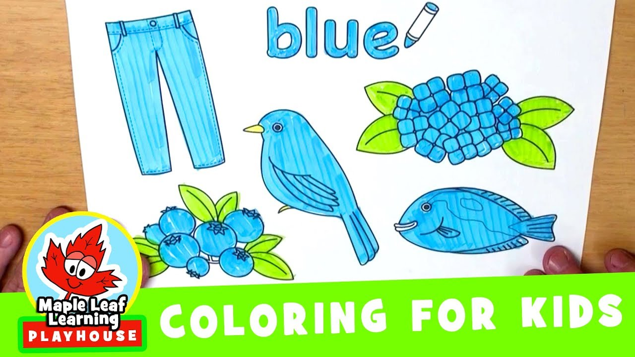 blue coloring page for kids maple leaf learning playhouse youtube