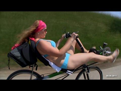 Girl on recumbent bike