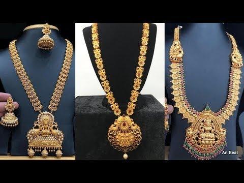 Gold Haram Designs 2020 Latest Long Gold Haram Collection Lakshmi Haar Kasu Haar Youtube