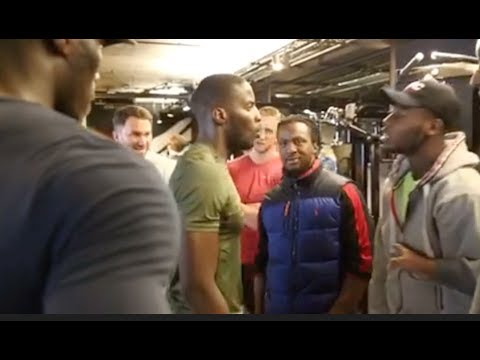 BEEF! - LAWRENCE OKOLIE & ISAAC CHAMBERLAIN CLASH @ WORKOUT - AS EDDIE HEARN & TEAMS SEPARATE THEM!