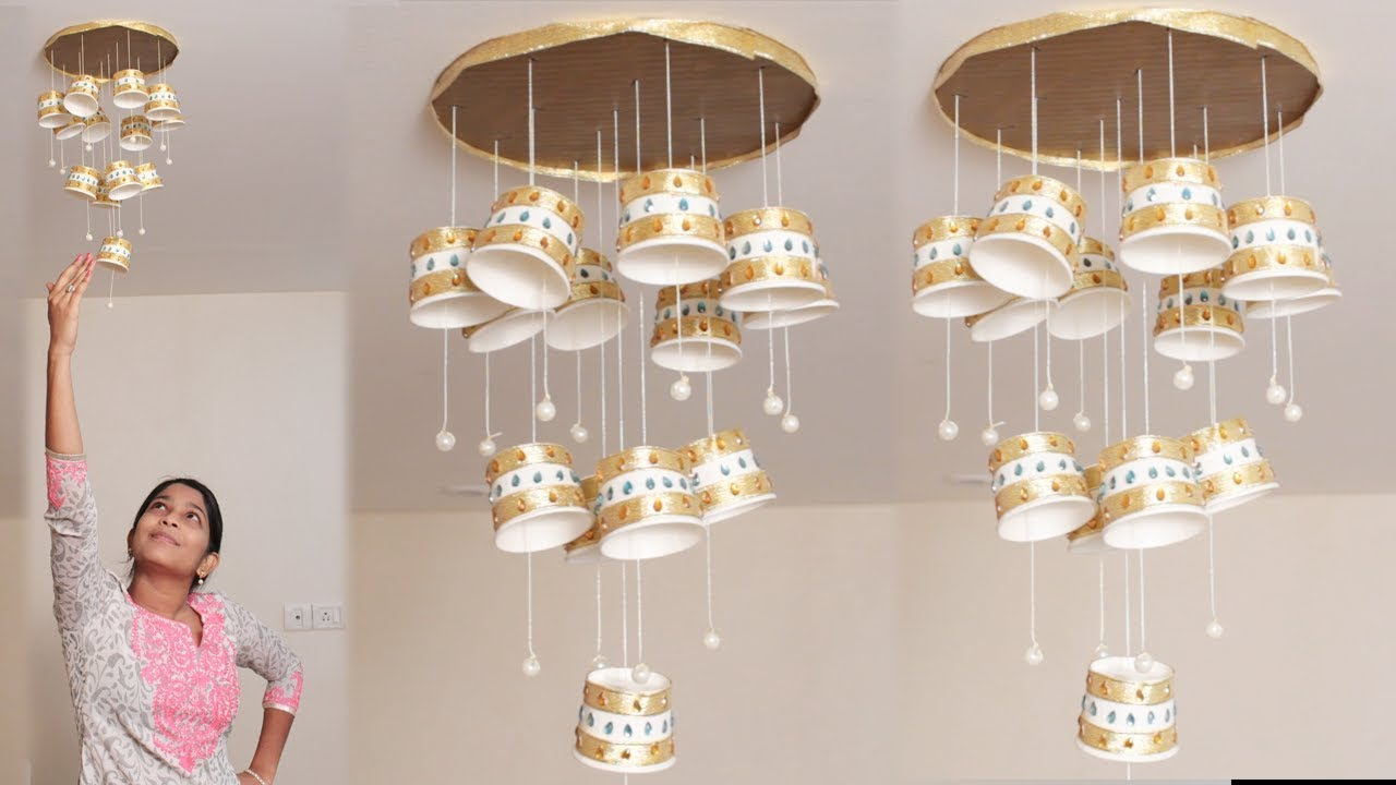 DIY Crafts - Chandelier Made Of Recycled Paper Cups - YouTube