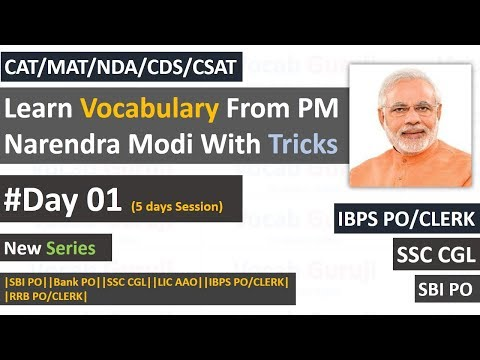 Learn English Vocabulary from PM Narendra Modi with Tricks for CAT|MAT||SBI PO||Bank PO||SSC CGL|