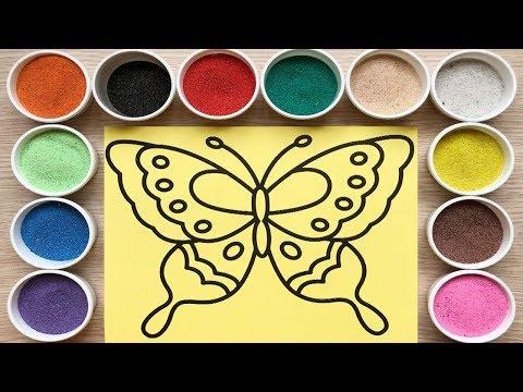 Đồ chơi trẻ em, TÔ MÀU TRANH CÁT BƯƠM BƯỚM XINH - Colored sand painting butterfly (Chim Xinh)