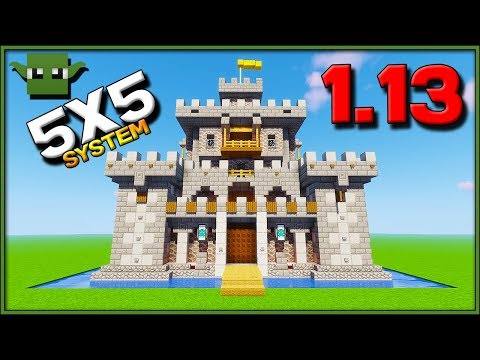 Minecraft 1 13 Castle Tutorial Easy 5x5 Building System Youtube