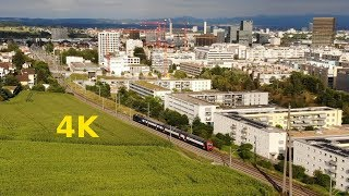 4K Zurich Seebach trains, bus 40 & fields by drone