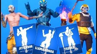 Fortnite - NOVAS Dance Emotes JITTERBUG, LLAMA CONGA ,TSSSSS com Skins BORDERLANDS patch 10.20