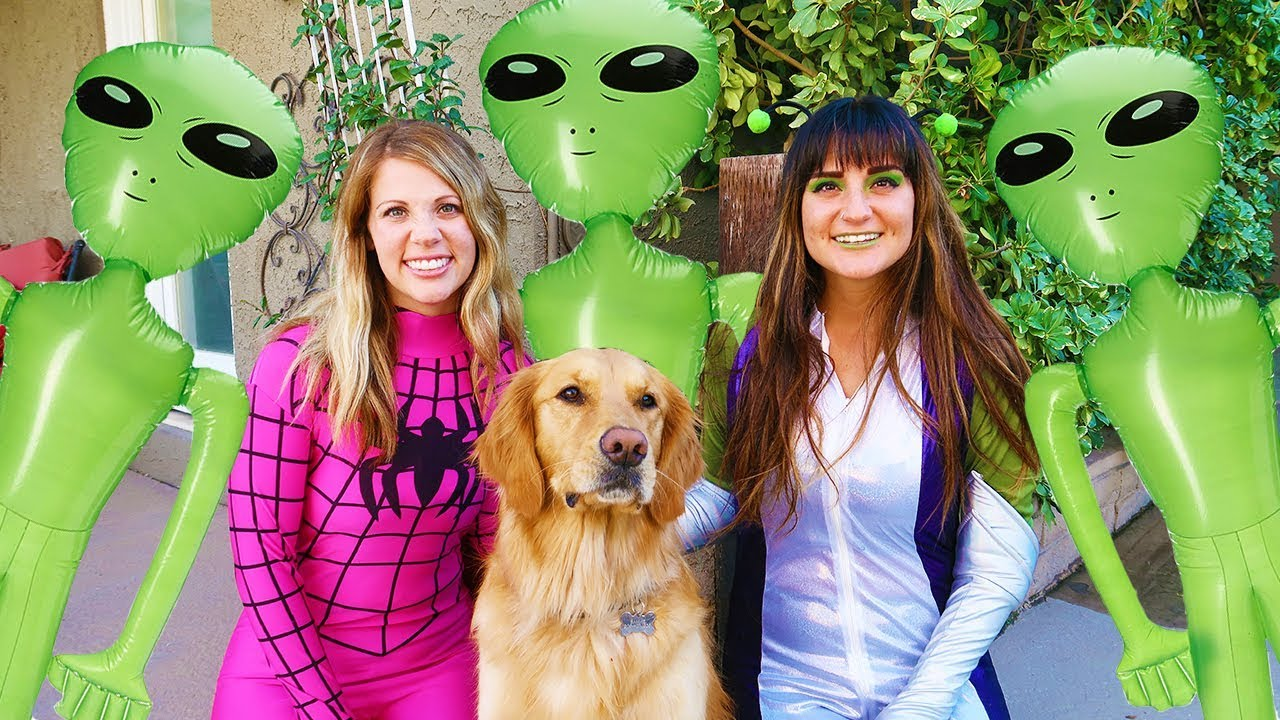 Spider Girl SAVES Sammie From Alien Invasion! Funny Dog