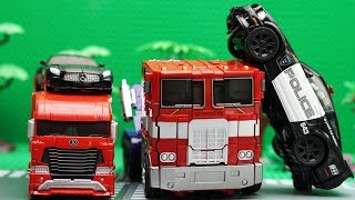 Optimus Prime, Barricade Police Car Transformers Autobot Legendary stop motion! Lego Robot Aventure