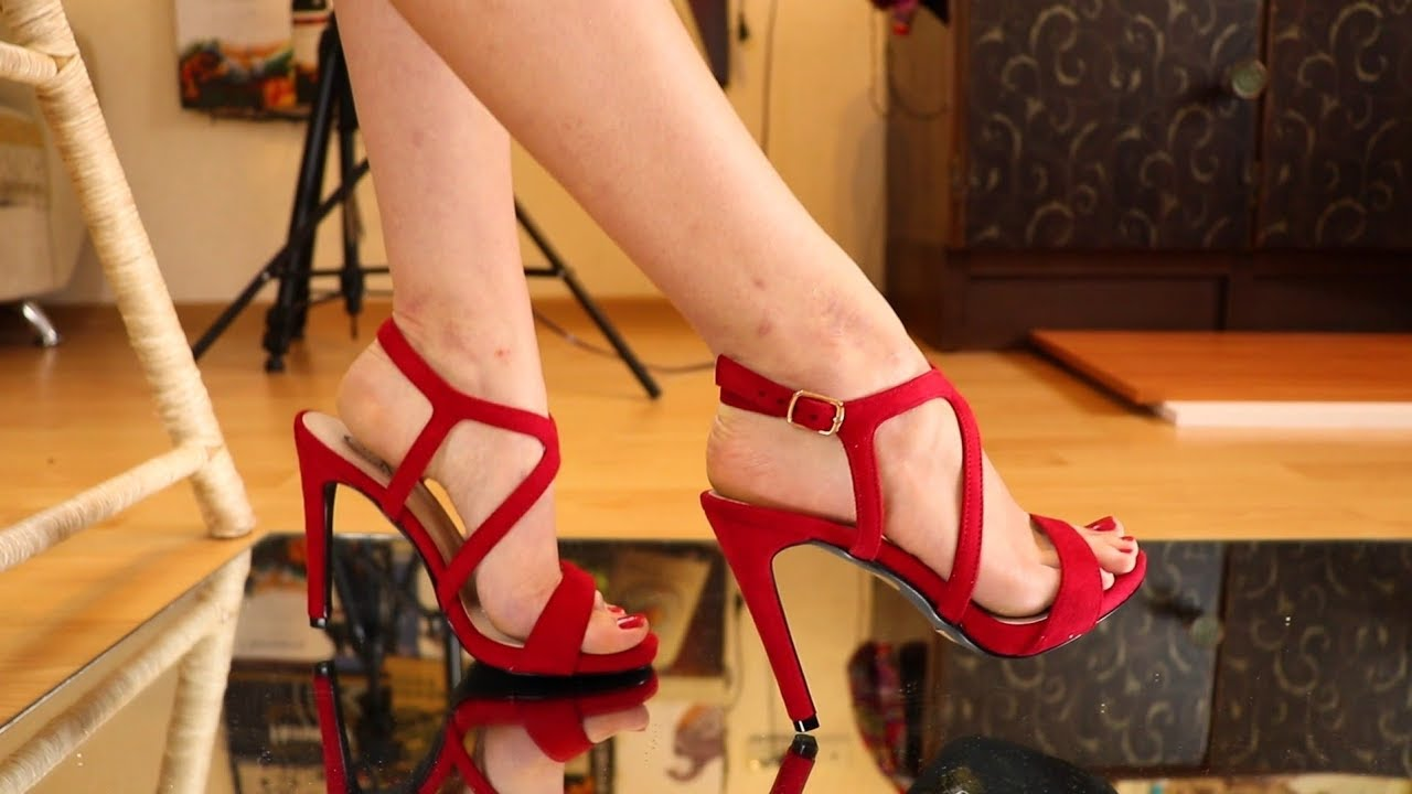 MY PERFECT FEET IN RED HIGH HEELS DANGLING