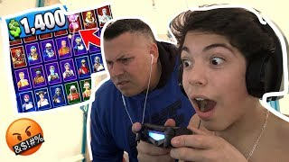 BUYING $100 WORTH OF V-BUCKS ON FORTNITE BATTLE ROYALE ON MY DADS CREDIT CARD!