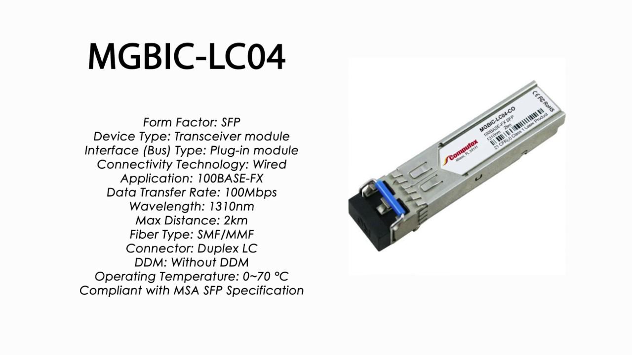 Enterasys Compatible MGBIC-LC04-100BASE-FX SFP Transceiver