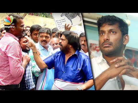 T Rajendar fights with the PRESS & Angry Speech  Latest TR Protest  Vishal, GST