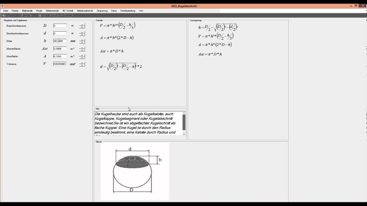 kugelhaube in wenigen sekunden berechnen mit dem formelprofi - youtube