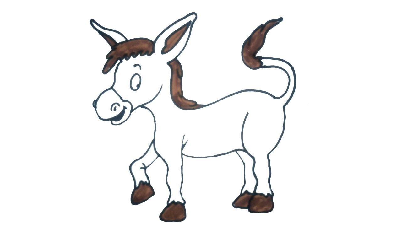 How To Draw A Donkey Easy Step By Step Drawing For Kids Children