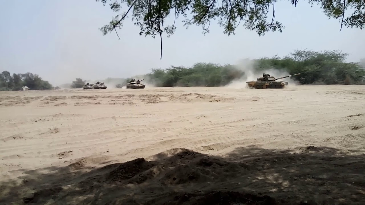 Indian Army T90 tank column move
