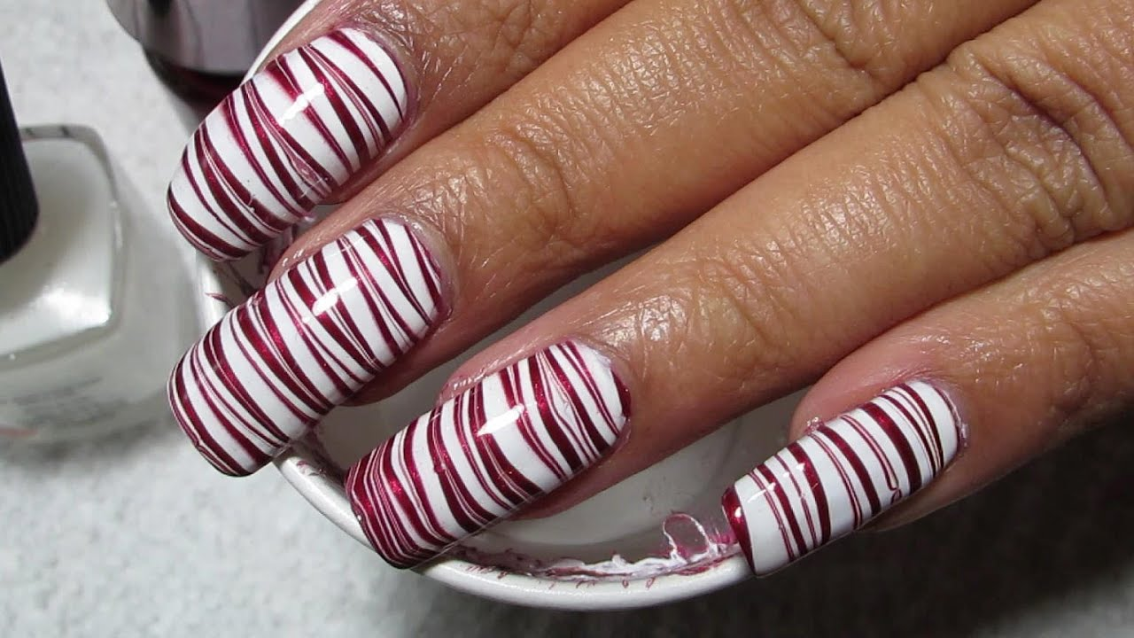 Candy cane water marble nail art tutorial youtube prinsesfo Gallery
