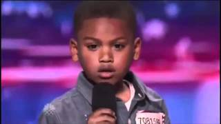 Repeat youtube video Howard Stern Makes 7-year-old Rapper Cry on America's Got Talent | @kollegekidd